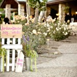 Guests were welcomed by this cheery sign, crafted by the Father of the Bride