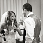 Alina and Sean sharing a laugh during their toast.  Photo courtesy of Joy Marie Smallwood.