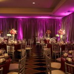After 8 hours of set up: Jon & Joy's eggplant, sage and silver ballroom is complete.  Photo courtesy of Geoff White.