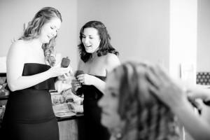 Bridesmaids admire Kristen & Sean's wedding rings