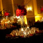 Tall, dramatic centerpieces were from above