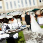 Chocolate Martinis in the wedding colors were presented to kick off the cocktail hour