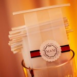 Custom take away bags sported the couple's monogram and colors