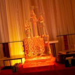 An uplit ice luge anchors the bar