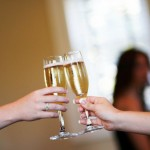 Wedding morning champagne toast