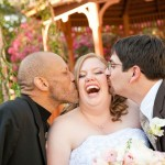 Dione gets a double-smack from her groom and her wedding planner!