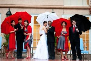 Wedding Bridal Party Rainy Day
