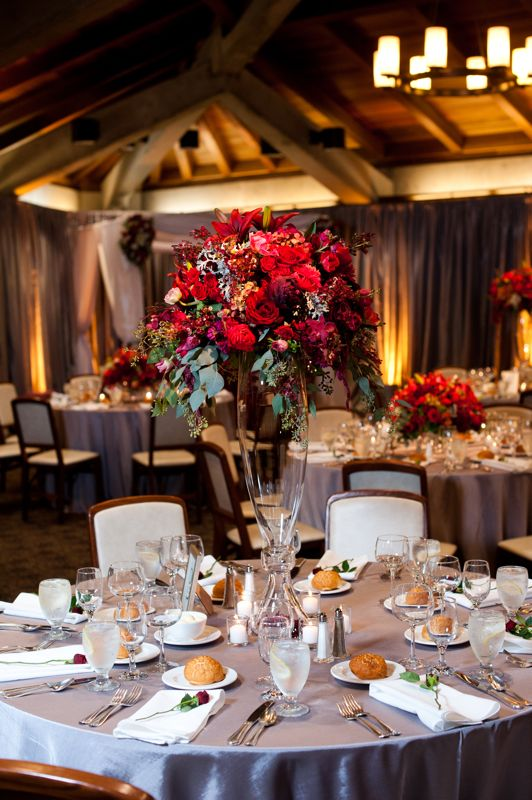 Red Tall Fl Wedding Centerpiece Alternating And Low Centerpieces Add Visual Interest